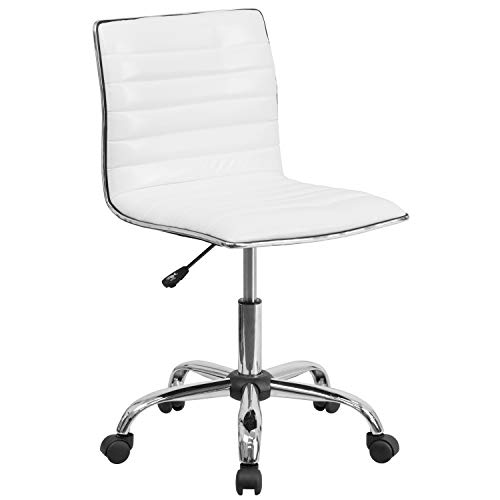 Flash Furniture Low Back Designer Armless White Ribbed Swivel Task Office Chair