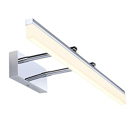 Qucover 12W Spiegelleuchte LED Bad, Spiegellampe mit 180°Abstrahlwinkel, Wandleuchte für Badezimmer, Badlampe für Spiegel 60 cm, Einstellbare Schrankleuchte Schminklicht, Warmweiß