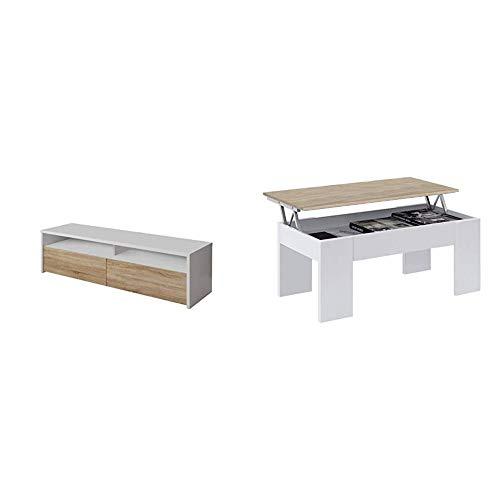 Habitdesign 0F6626A - Mueble de Salon, modulo de Comedor Kioto + 0F1640A - Mesa de Centro elevable acabada en Color Roble Canadian, Medidas 45 x 100 x 50 cm