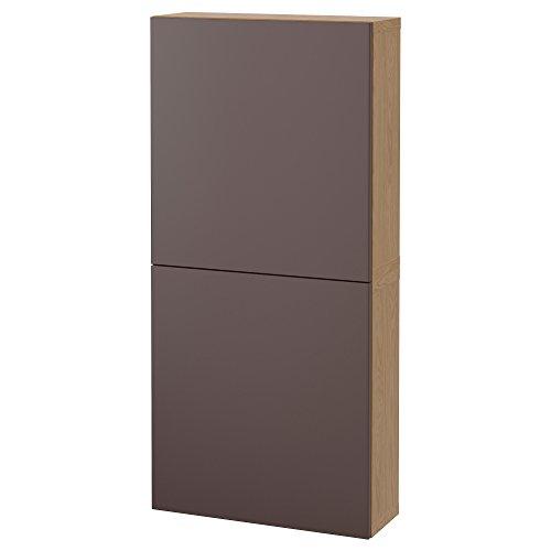 IKEA BESTA–Wandschrank mit 2Türen eiche Effekt/valviken dunkelbraun
