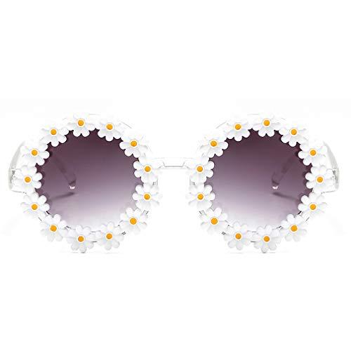 Dollger Retro Daisy Gafas de sol para mujer, diseño de flores, redondas, de moda, discoteca, festivales, Negro (Todos los marcos Daisy), Medium