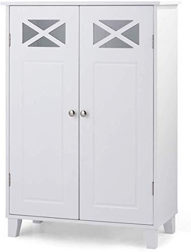 COSTWAY Armario de Baño Suelo con Estantes y Puerta Mueble de Baño de Pie Gabinete para Dormitorio Cocina Blanco