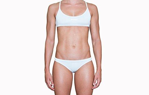 IMPERA Costume da Allenamento Nuoto, No Trasparente, Bikini - Due Pezzi da Donna, Resistente al Cloro, possibilità di spaiare Taglia del Top con Taglia dello Slip - Colore Bianco (46)