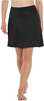 slimour Women Modest Running Skirt Travel Skirts with Pocket Swim Skirt High Waist with Shorts Black XL