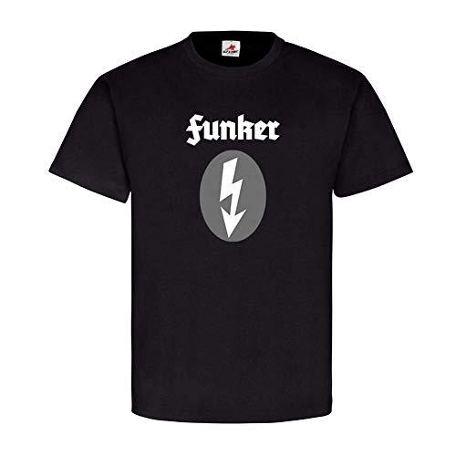 Funker WK2 Abzeichen Blitz Ärmel Fernmelder Trupp Funk Wehrmacht T-Shirt#24697, Farbe:Schwarz, Größe:Herren L