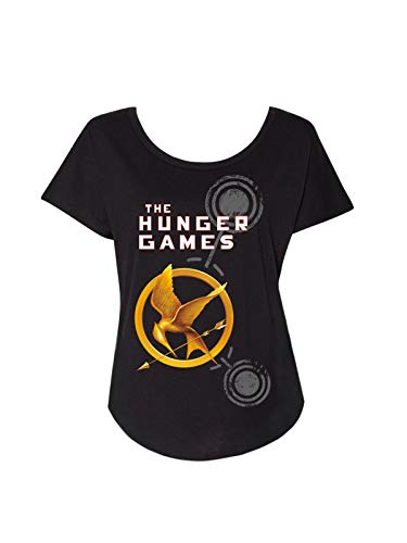 Camiseta de manga morcego feminina com tema literário de livro com estampa Out of Print, The Hunger Games, Small