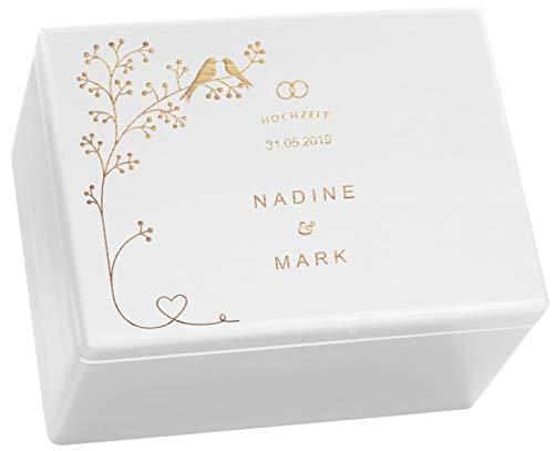 LAUBLUST Holzkiste zur Hochzeit - Vogel-Pärchen - Geschenkkiste Personalisiert mit Gravur - 40x30x24cm, Weiß, FSC®