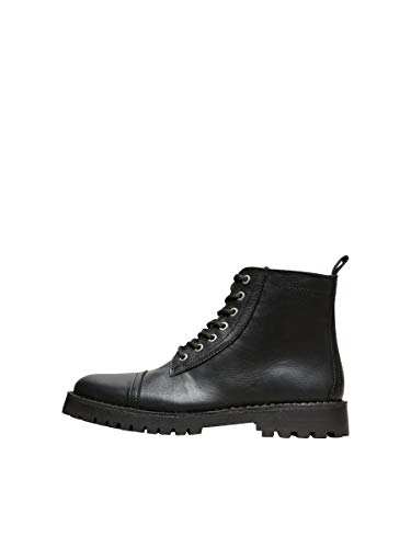 Selected G2468 Anfibio Uomo Homme Black Leather Vintage Effect Boot Man [44]