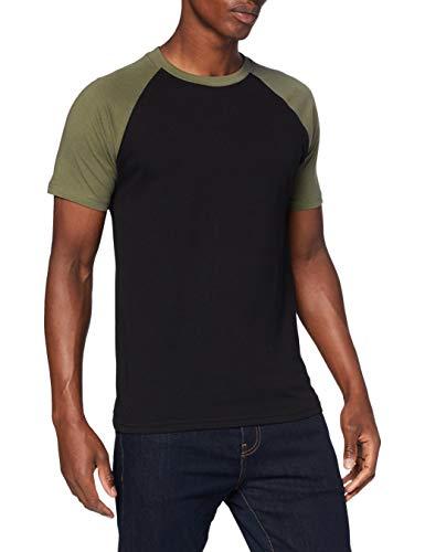 Urban Classics Herren Raglan Contrast Tee T-Shirt, blk/olive, 5XL