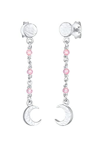 Elli Pendientes Estructura de la placa de la luna de las señoras con el cuarzo rosado en la plata esterlina 925