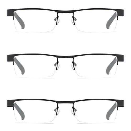MU CHAOHAI Unisex 3-pack Leesbril met Halve rand, Metalen frame, Plastic lens 1,0 1,5 2,0 2,5 3,0 3,5 4,0