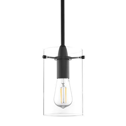 Black Pendant Light - Modern Effimero Mini Pendant Lighting for Kitchen Island Decor - Clear Glass Fixture with Medium Lamp Shade
