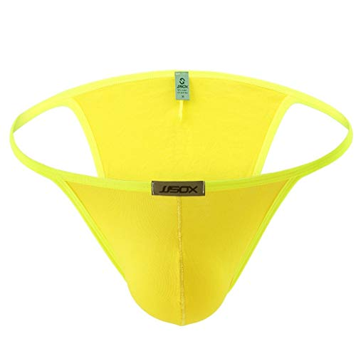 Skxinn Herrenunterwäsche, Herren Mini Micro Strings Tanga T-Back Unterhose Erotik Sexy Stretch-Unterwäsche Bikini Slips Lingerie Hosen Underwear M-XL(Gelb,Large)