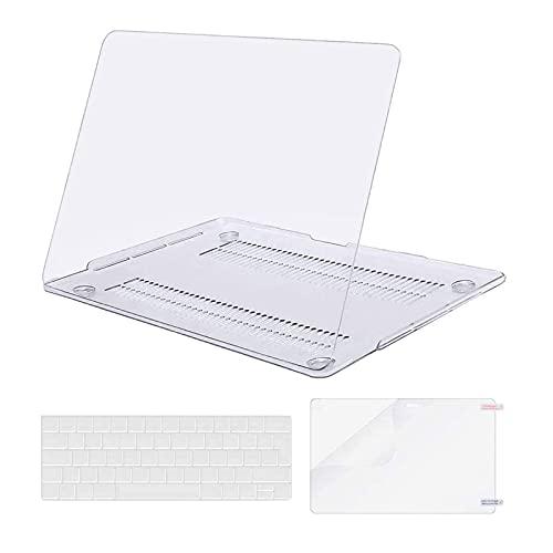 MOSISO Custodia Compatibile con MacBook PRO 13 A2338 M1 A2289 A2251 A2159 A1989 A1706 A1708 2020-2016, Plastica Custodia Rigida & Tastiera Cover & Proteggi Schermo, Cristallo