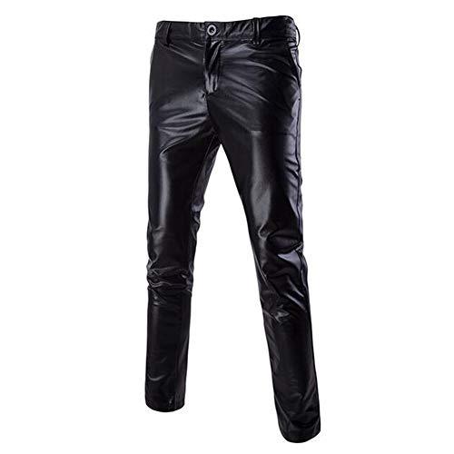 Biddtle Herren Hosen Wetlook Männer Lederhose Glanz Hose Slim Fit Soft Leder Pants Tanz Clubwear M-XXL,Schwarz,L