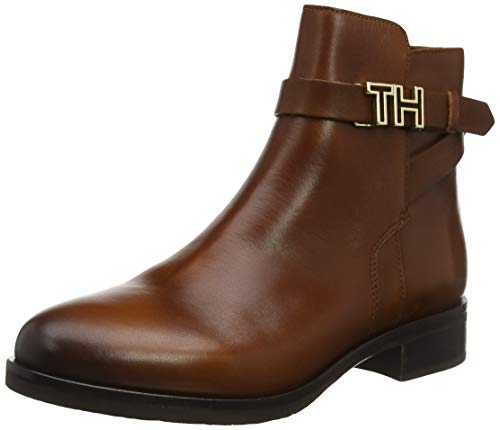 Tommy Hilfiger Damen TH Hardware Leather Flat Bootie Stiefeletten, Braun (Ginger Bread 202), 36 EU