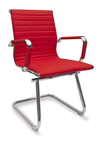 Sedia Ergonomica da Ufficio Attesa o Visitatori Modello Rem Slitta Colore Rosso