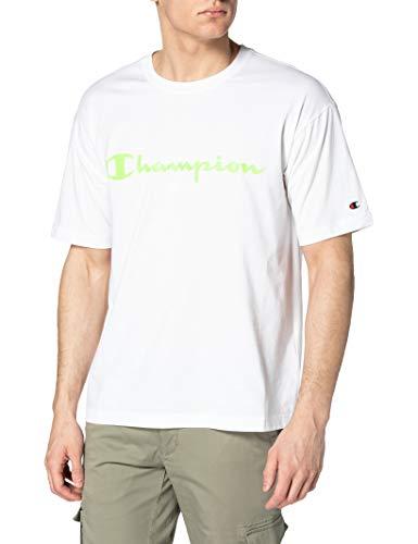 Champion Seasonal Fluo Logo Crewneck T-Shirt, White Ww001, M Uomo