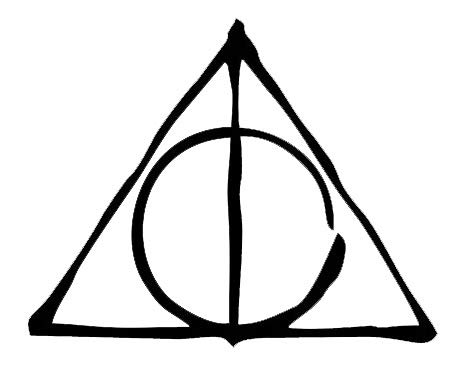 PLU Deathly Hallows Drawn Black Decal Vinyl Sticker|Cars Trucks Vans Walls Laptop| Black |5.5 x 4.5 in|PLU936