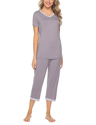 Hawiton Pijamas para Mujer Verano Corto de Algodón Conjunto de Pijamas de Manga Corta 2 Piezas