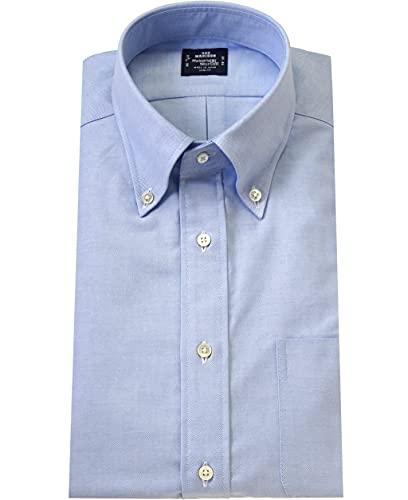 [メーカーズシャツ鎌倉] メンズ ワイシャツ スリムフィット オックスフォード ボタンダウン 無地 長袖 42-86 ブルー系 (21) MSK053214286