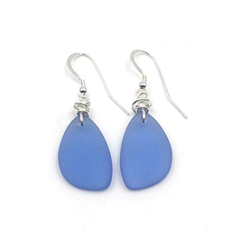 Popular Dusty Periwinkle Blue Sea Glass Earrings with Handmade Knot and Sterling Silver Hooks, Great with Jeans, Great Gift, by Aimee Tresor