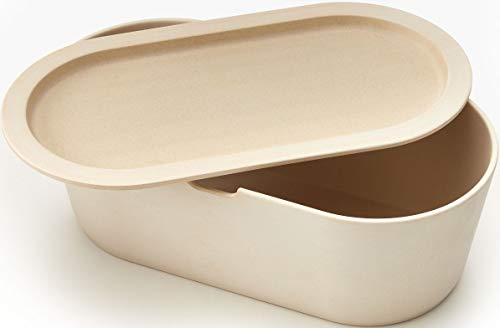 Modern Cream Medium Sized Eco Bamboo Bread Box with Cutting Board Lid - Farmhouse Breadbox Bread Holder By Cooler Kitchen