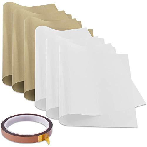 Haude 6 Pcs PTFE Sheet with 1 Heat Tape for Heat Press Transfer Paper Non Stick Heat Resistant Baking Sheet Craft Mat