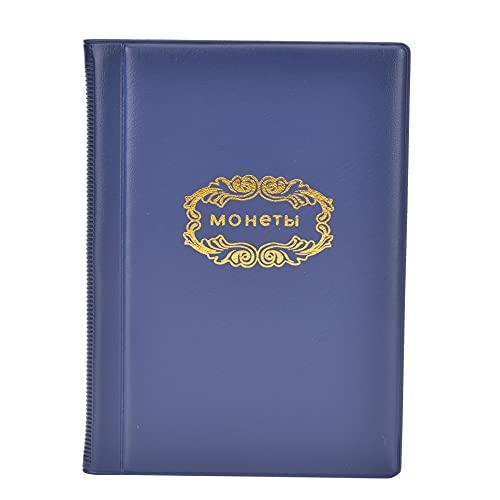 Álbum de monedas Bolsillo para libros Páginas para monedas Capacidad suficiente Resistente 120 bolsillos 10 páginas Suministros de colección Regalos de coleccionista por dinero(blue)