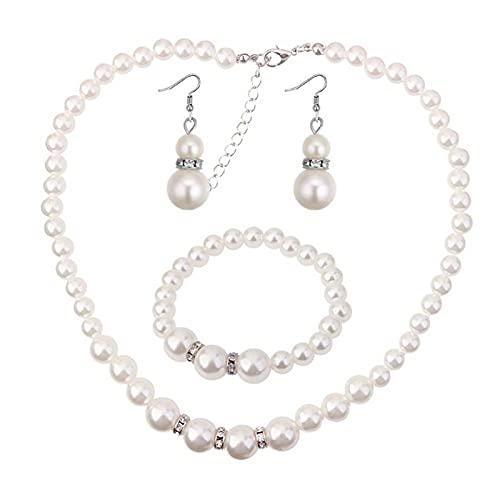 XPT 3 piezas de mujer elegante collar de perlas de imitación gancho pendientes pulsera para boda banquete joyería regalo blanco