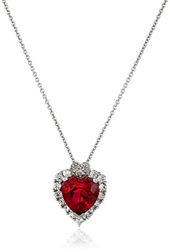Sterling Silver, Created Ruby, Created White Sapphire, and Diamond Heart Pendant Necklace (.015 cttw, I-J Color, I2-I3 Clarity), 18'