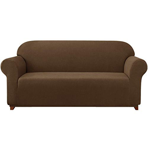 Funda de sofá elástica de 1 Pieza Fundas de Tela Jacquard de Licra, Protector Antideslizante para Muebles (sofá XL, café)