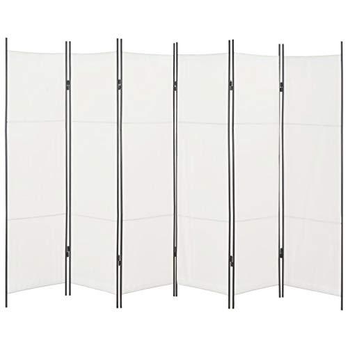 Festnight 6-TLG. Raumteiler Weiß 300×180 cm Trennwände Sichtschutz Schlafzimmer Paravent Umkleide Raumtrennwand