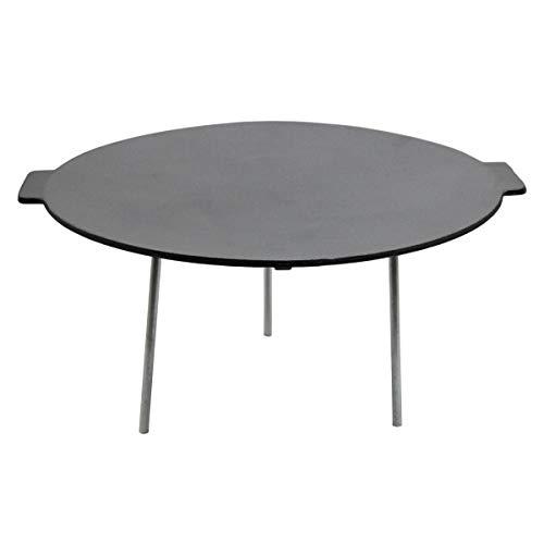 SANTOS Gusseisen Grillplatte mit 3 Beinen für Lagerfeuer - Ø 45 cm, rund - Dutch Oven Ständer, Untergestell, Dutch Oven Tisch, Plancha, Grillpfanne