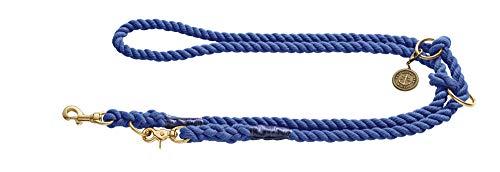 HUNTER LIST Verstellbare Führleine, Seil, Messing-Karabiner, maritim, 0, 8 x 200 cm, dunkelblau