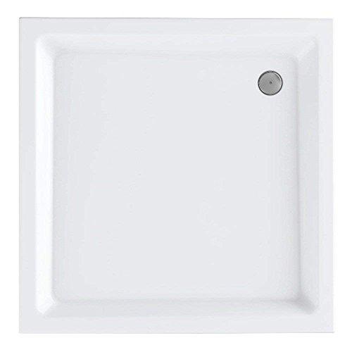 VBChome Acryl-Duschwanne 90x90x14 cm Duschtasse Competia rechteckig Duschkabine Styroporträger extra flach Sanitär-Acryl Duschbecken stabil weiß+ Viega Tempoplex