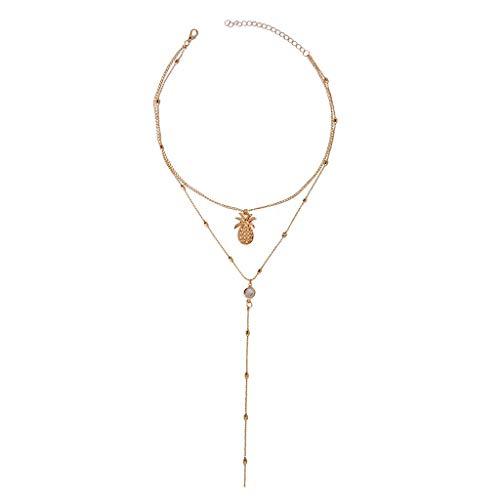 Minshao - Collar con colgante de piña de múltiples capas para mujer dorado dorado