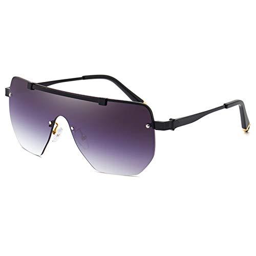 SHEEN KELLY Gafas de sol retro con parte superior plana para hombres y mujeres Gafas de sol cuadradas de gran tamaño Gafas de sol clásicas Gafas de sol sin montura