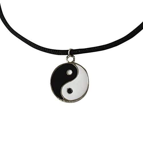 Hergswre Moda de Estilo Vintage y Colgante de Yin y Yang Simple para Hombres Collar de Tai Chi Decoración de Moda para Amantes Unisex - Blanco y Negro