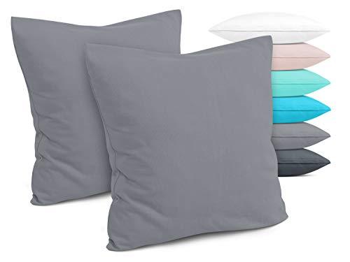 Doppelpack - Kissenbezüge aus Jersey-Baumwolle - Moderne Kissenhüllen in unifarbenem Design - in 6 modernen Farben und 4 Größen, ca. 80 x 80 cm, grau