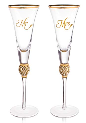 Wedding Champagne Flute - Mr And Mrs Champagne Flute With Gold Rim - Wedding Gift For Couple - Rhinestone Studded Bride And Groom Champagne Glass - Bride Gift - Mr And Mrs Gift Set of 2 By Trinkware