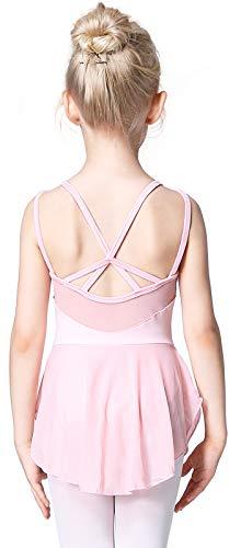 Soudittur Maillot de Danza Algodón Tutú Vestido de Ballet Gimnasia Leotardo Body Clásico Manga Corta para Niña (3-4 años, Rosa)