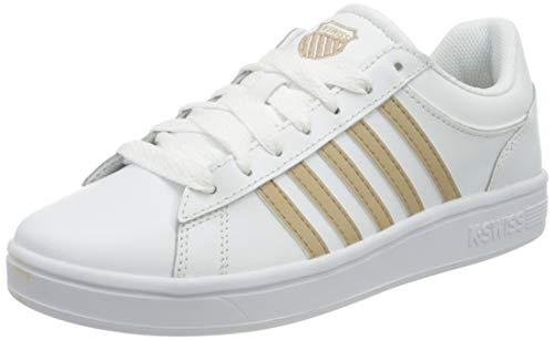K-Swiss Damen Court Winston Sneaker, White/Nougat, 41.5 EU