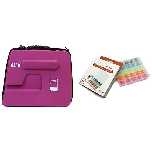 Alfa Funda para Maquina de Coser NEXTtoYOU, Morado, 38 X 22 X32 Cm + 6050-Caja 25 canillas Colores, Multicolor