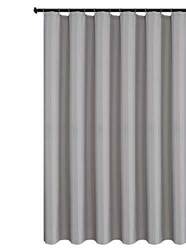 Biscaynebay Duschvorhang in Hotelqualität, wasserabweisend, rostwiderstandsfähige Ösen oben, beschwerter Boden, maschinenwaschbar, silbergrau, 183 cm Breite x 213 cm Länge
