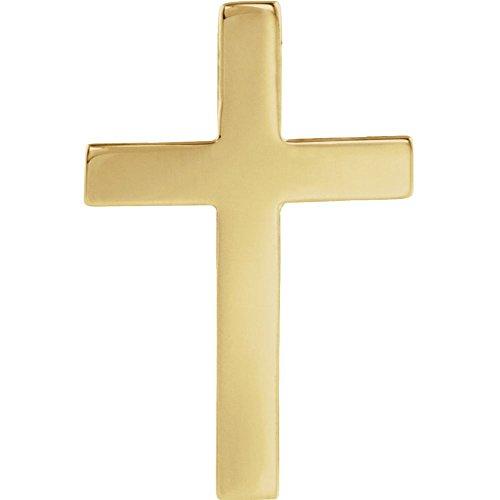 14 Karat Gelbgold, 22 x 14 mm, poliert, religiöses Glaubenkreuz