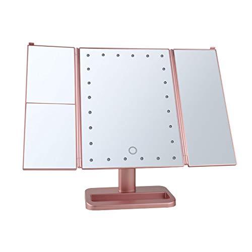 USB droite Insérer avec la lumière LED à trois côtés pliant miroir de maquillage avec la boîte de stockage 38X25CM