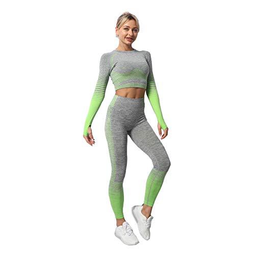 Lixada 3Piezas Ropa de Yoga,Mangas Largas +Ropa Interior + Pantalones,Levantamiento de Cadera de Alta Elasticidad sin Costuras, Ropa Deportiva de Gimnasio Pantalones de Yoga de Cintura Alta