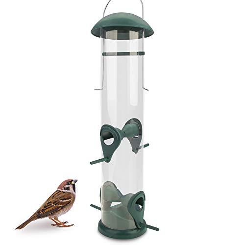 WILDLIFE FRIEND | 30cm Körner Vogelfutterspender grün – mit 4 Anflugplätzen, Vogel Futterstation, Futtersäule, Körner Wildvögel Futtersilo