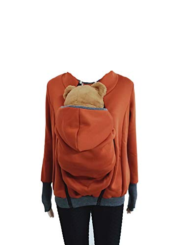 Baby Carrier Hoodies Mäntel 2 In 1 Frauen Mutterschaft Sweat-Shirts Fleece Känguru-Tasche Tragejacke Känguru Jacke für Mama und Baby Umstandswinterjacke Babyeinsatz Winter Tragejacke Braun S